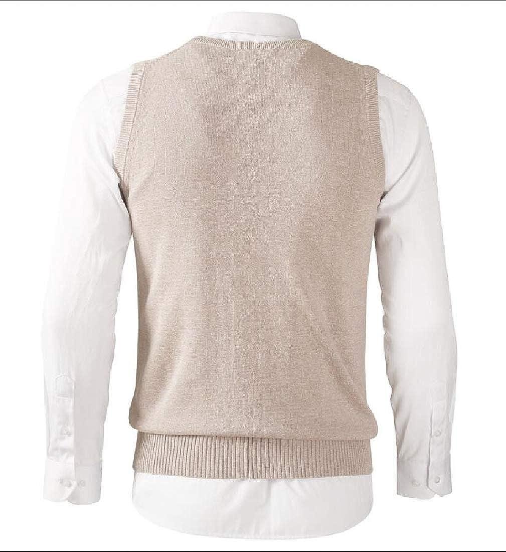 WSPLYSPJY Men Knit Cotton Pullover Sleeveless Sweater Waistcoat Vest