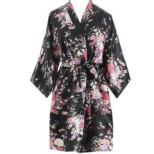 9e2e9b6ca5 Women Short Floral Satin Kimono Robe Silk Bridal Dressing Gown for Wedding  W Party Bride Bridesmaid