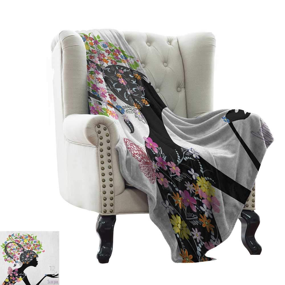 color02 50\ BelleAckerman Plush Throw Blanket Zodiac Scorpio,Fashion Girl Silhouette with colorful Blossoming Floral Dress and Hairstyle, Multicolor Comfortable Soft Material,give You Great Sleep 50 x60