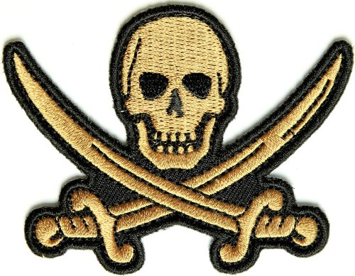 [Embroidered Iron On Patch - Pirate Sword Skull Patch 3