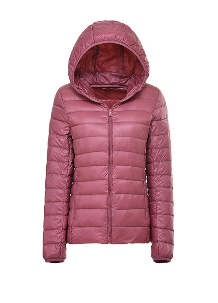 Wicky LS Women's Fitted Autumn Winter Lightweigth Down Coat Outwear Style 1 Pink M