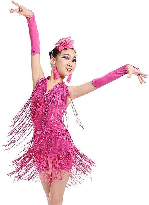 Disfraz de baile de niña Niñas Baile latino Halter Lentejuelas ...