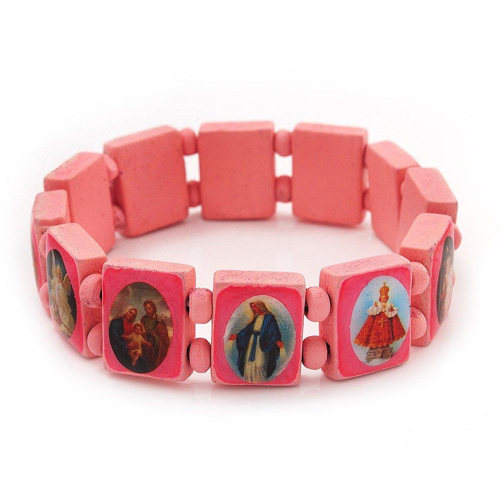 Amazon.com: Stretch Pink Wooden Saints Bracelet / Jesus Bracelet ...