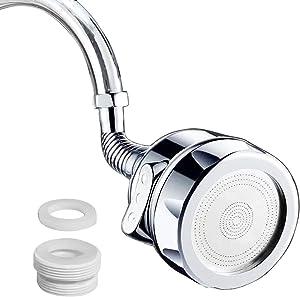 Faucet Extender Kitchen Sink Aerators,Faucet Head with Filter 360° Rotatable Kitchen Faucet Sprayer Splashless Faucet Booster Shower Tap Nozzle Jet Diffuser(3 Modes, Longer Version)