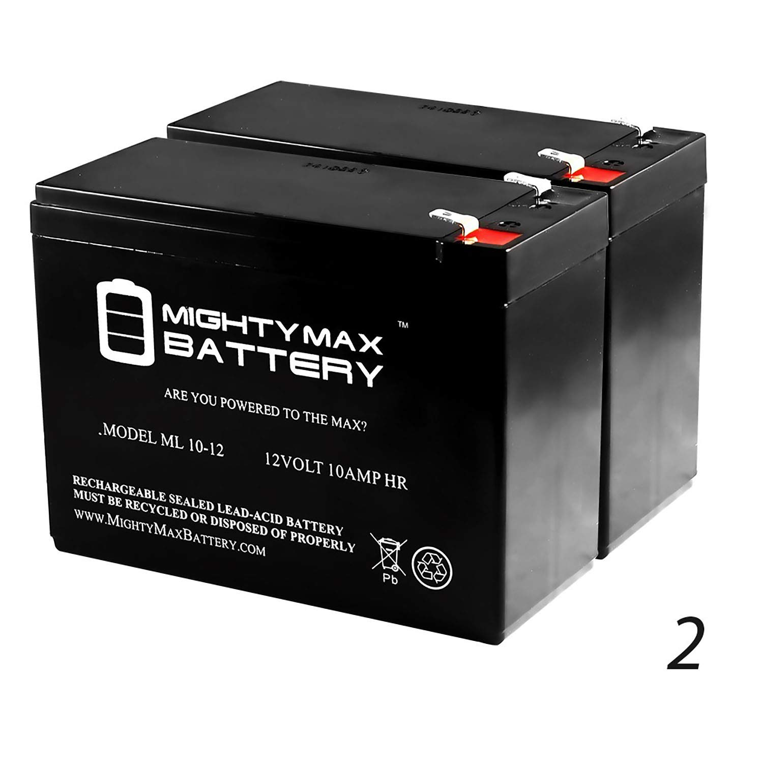 Mighty Max Battery ML10-12 - 12V 10AH Scooter Battery for ECO GS12V10Ah, GS 12V10Ah - 2 Pack Brand Product