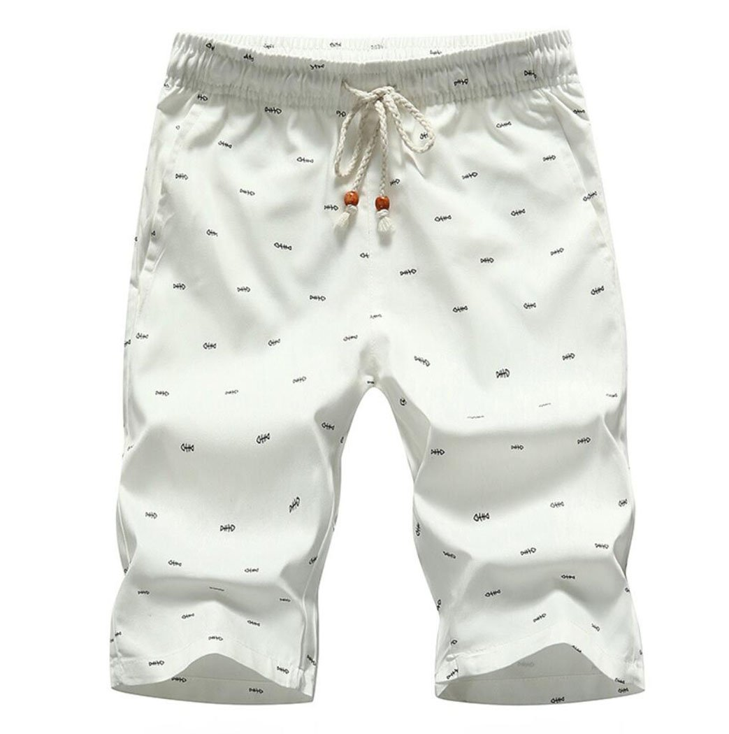 Amoystyle Men's Fishbone Drawstring Casual Shorts White Asian 2XL