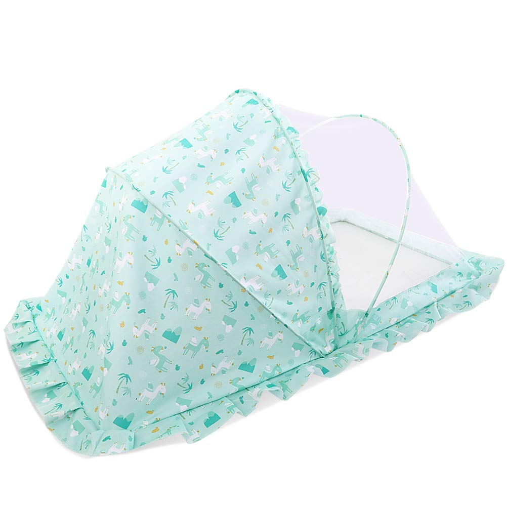 EsTong Unisex Baby Crib Safety Net Tent, Premium Sturdy Infant Bed Canopy Netting Cover See Through Mesh Top Nursery Mosquito Net Shading Green M