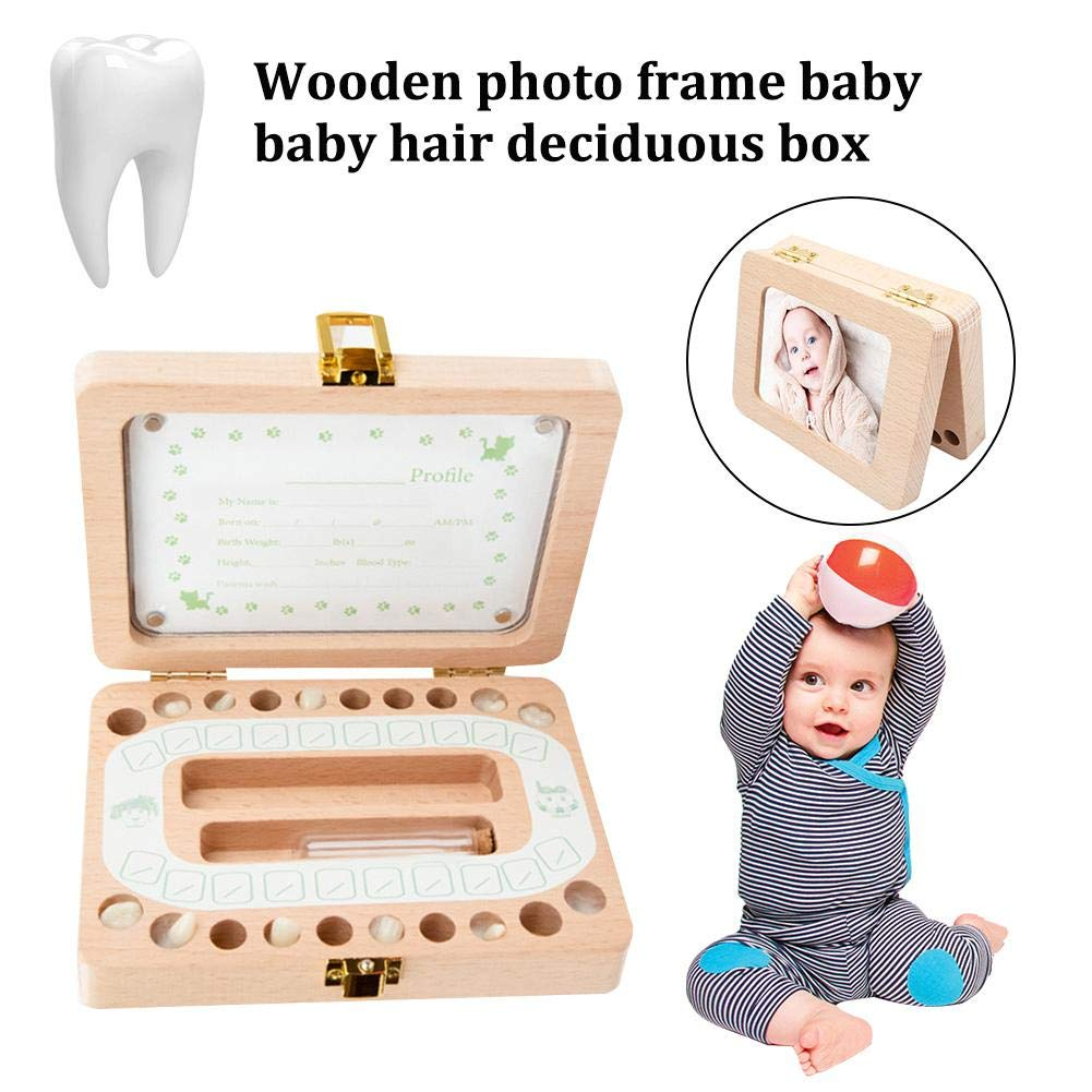 Yunhigh Baby Teeth Keepsake Box Tooth Fairy Holder Wooden, First Lost Deciduous Tooth Collection Organizer Storage for Kids Memory by Yunhigh