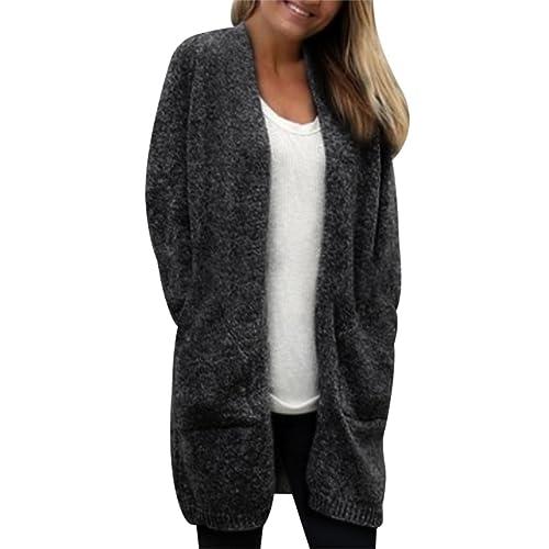 MIOIM Moda Mujeres Abrigo de lana con manga larga chaqueta jersey