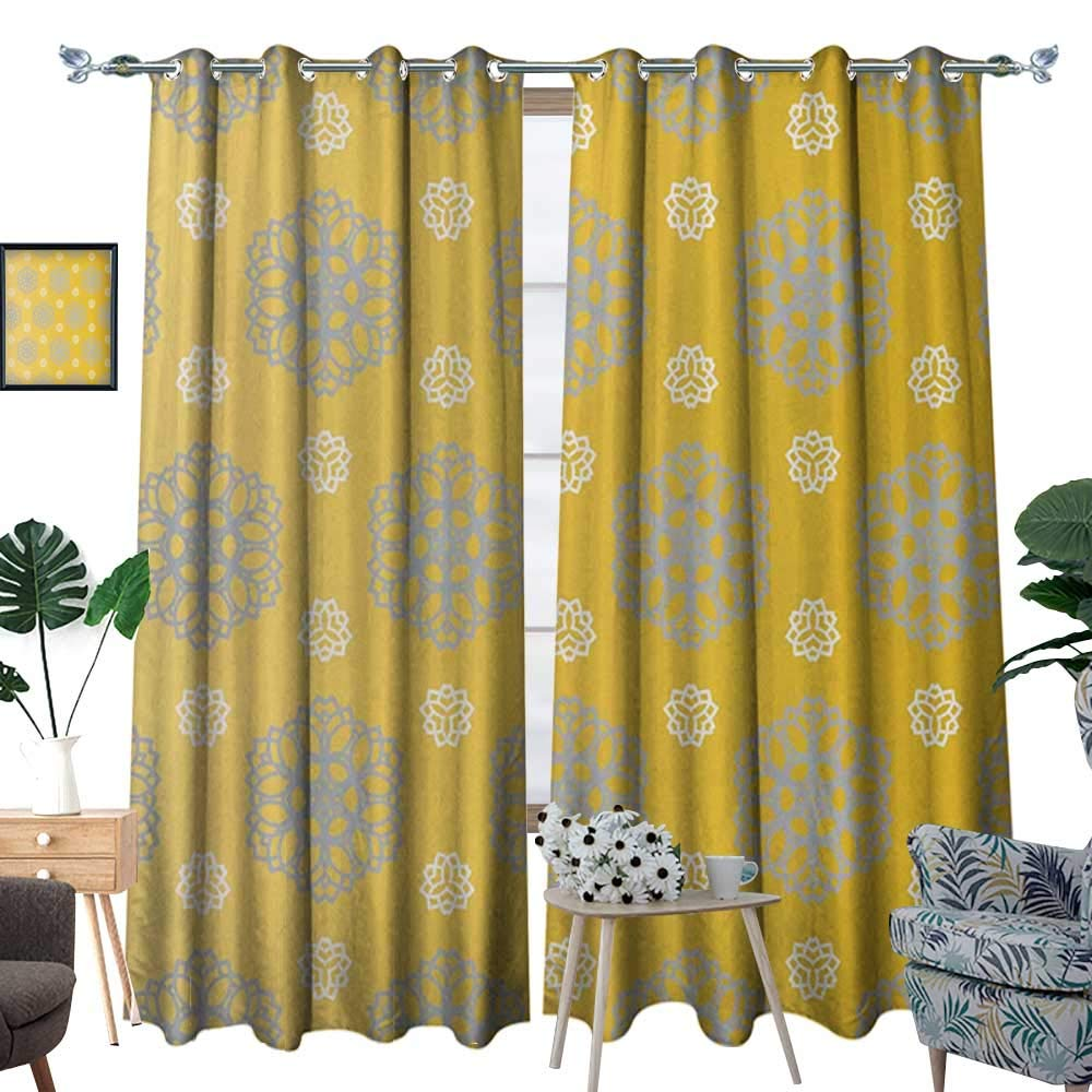 Grey and Yellow Patterned Drape for Glass Door Retro Vintage Bohemic Image of Flowers Swilrs Art Print Waterproof Window Curtain Marigold Blue Grey and White