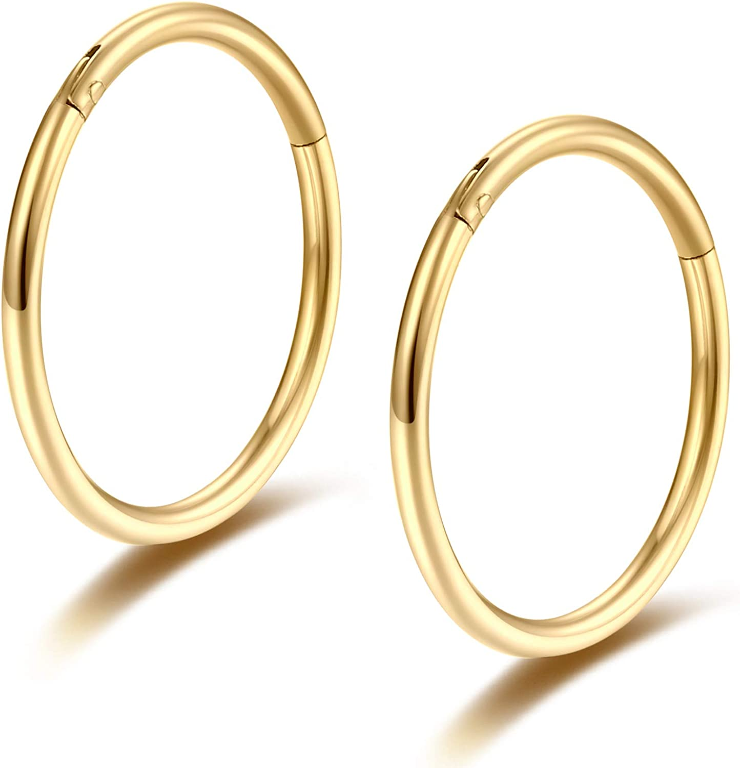 Amazon Com Gold 16g Septum Ring 10mm Hinged Clicker Nose Rings