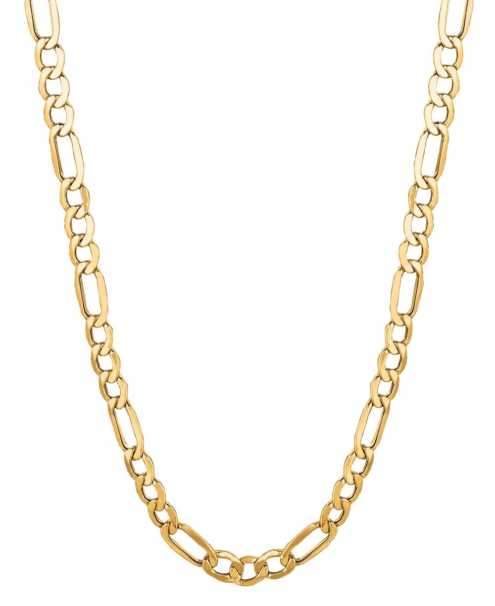 14Kt Solid Yellow Gold Classic Figaro Lite Curb Link Chain/Necklace 6.5 Mm (Lfig140