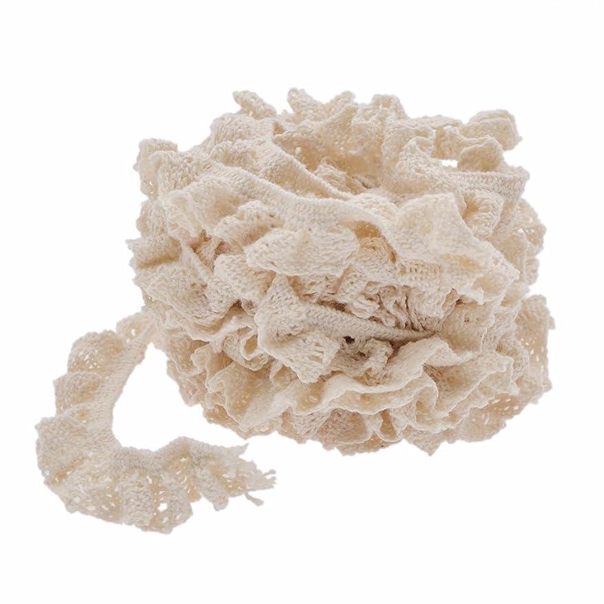 かんたんしかしながらアレンジギャザー入り お花のチュールレース 約4cm幅 10Y(約9m)40mm ハンドメイド (オフホワイト)