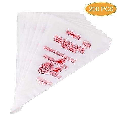 Amazon.com: mseeur 200 pcs desechables crema manga pastelera ...
