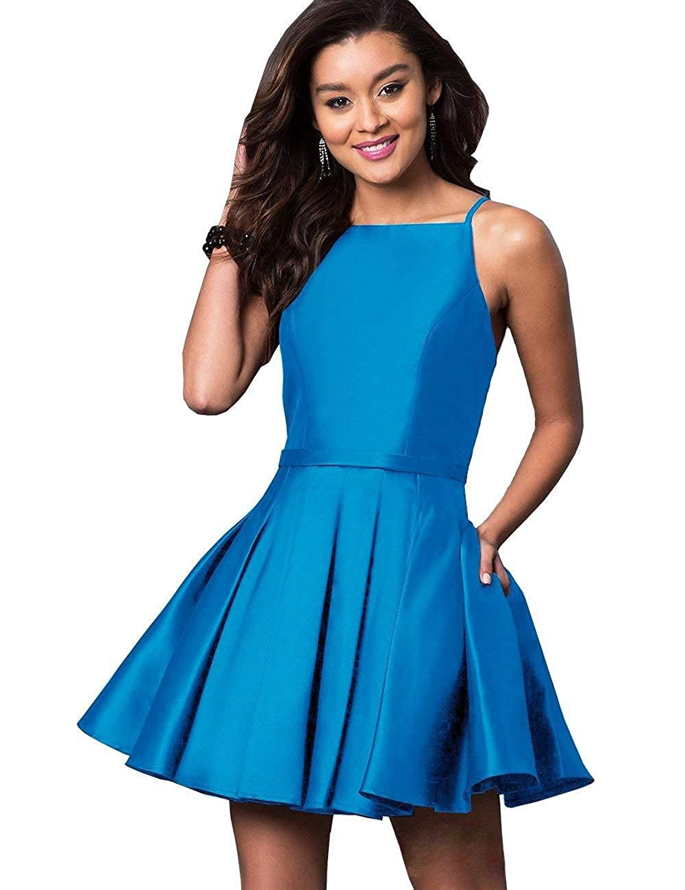 bluee NewFex Homecoming Dresses Satin Spaghetti Strap 2018 Aline Short Prom Gown with Pockets