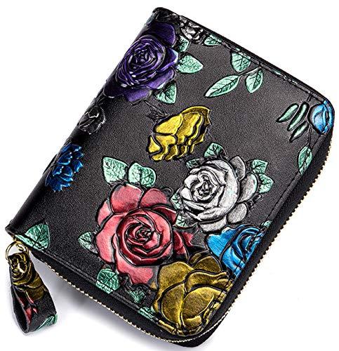Women's RFID Blocking Genuine Leather Floral Print Large Capacity, ID Window, Passport Slot, Zipper Pocket, Secure Credit Card Holder Zipper Wallet, Free Gift Box, Multicolor Rose, b6w020c1
