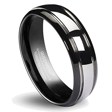 68mm matching tungsten carbide wedding band black silver dome gunmetal bridal ring men women - Wedding Ring Man