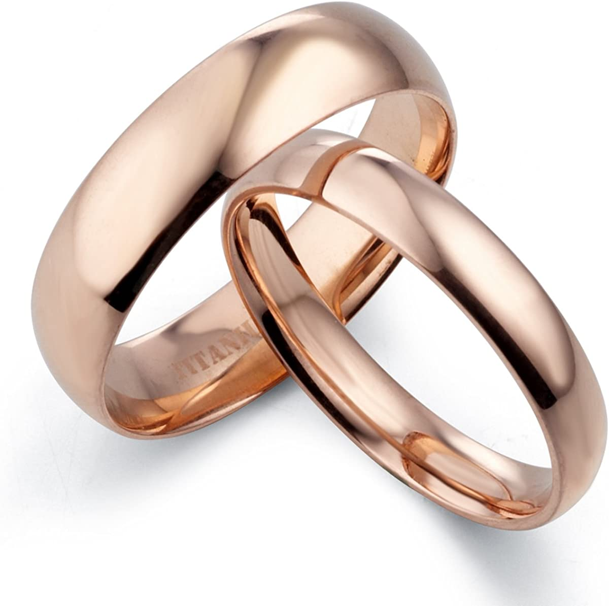 7.5 Women Ring Size Gemini His /& Hers Dome Comfort Fit Rose Gold Promise Wedding Titanium Ring Set Width 6mm /& 4mm Men Ring Size 11