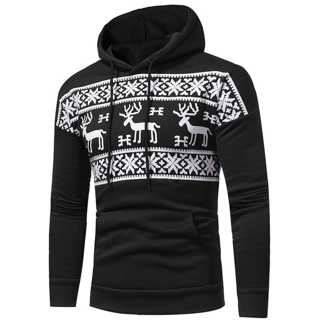 Christmas Men's Hoodie, Quistal Running Fleece Sweatshirt Workout Jacket Pullover Hoody (Black, 2XL) Christmas Men's Hoodie YS0907004