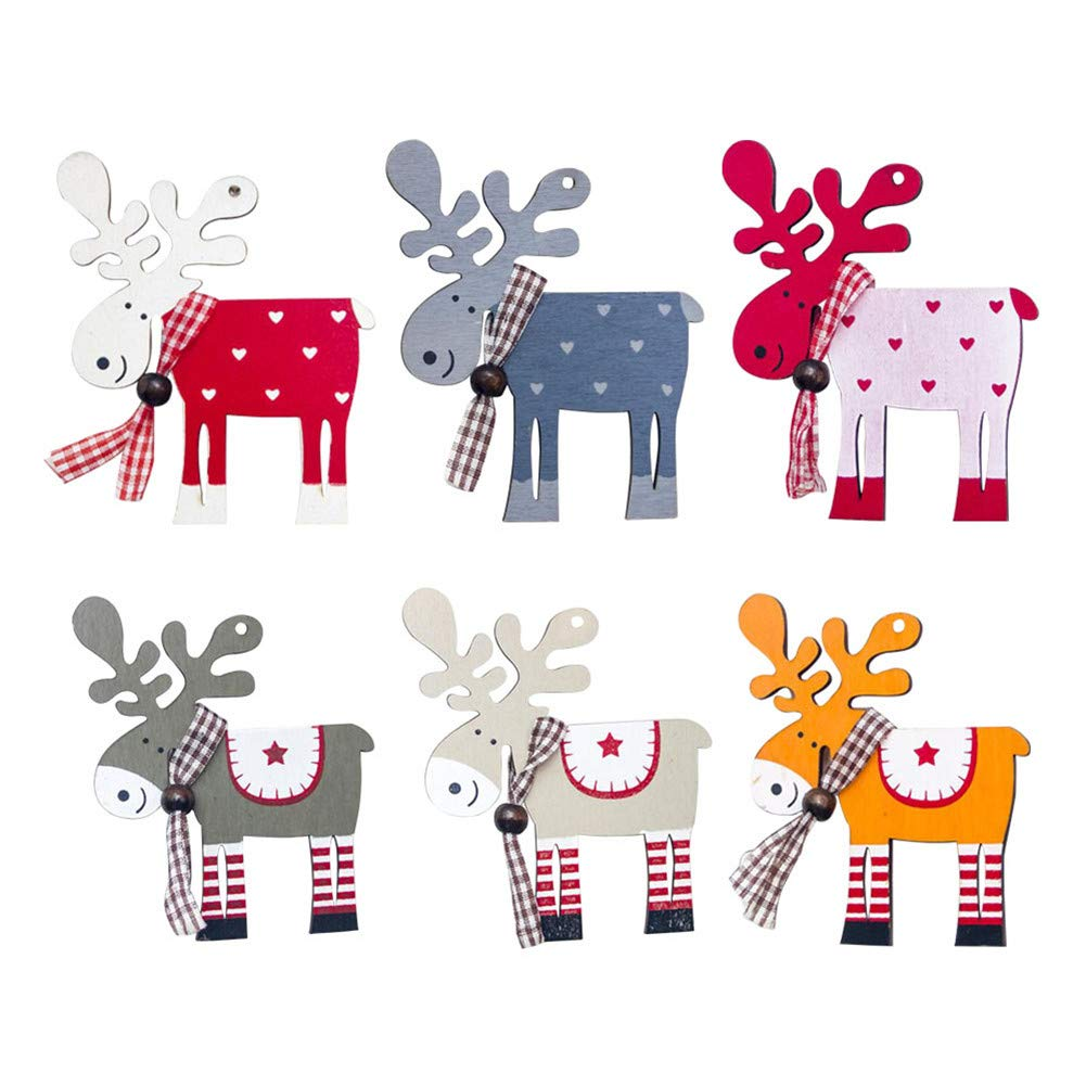 vitihipsy 2 Pcs Christmas Ornaments Wooden Reindeer Elk Colorful Pendant Christmas Tree Party Decoration