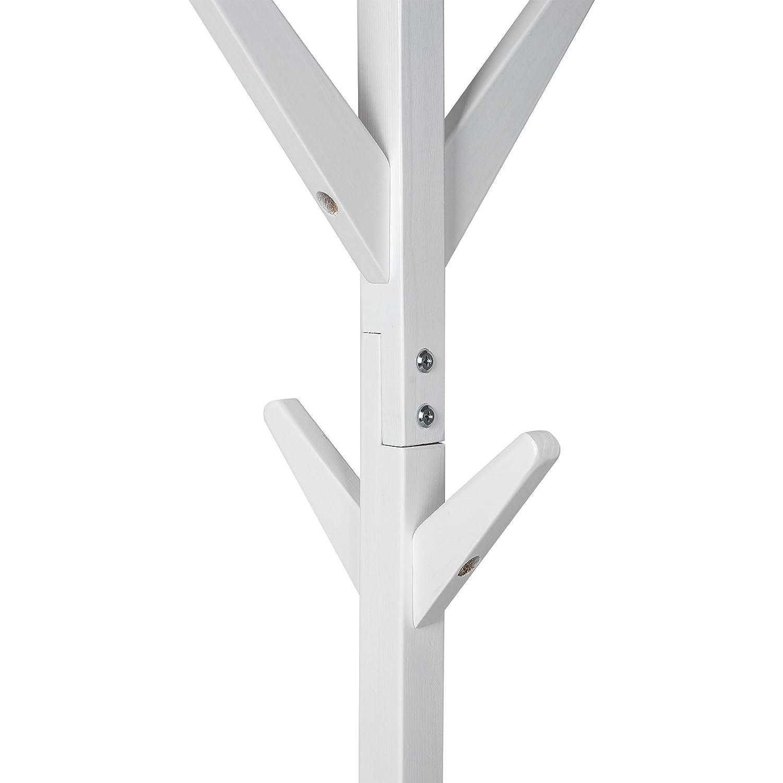 TopHomer Holz Garderobenständer Kleiderhaken 8 Haken Kleiderständer  Aufhänger Garderobe Kleiderhaken 175cm Höhe(Natürlich)