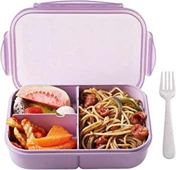 BusyMouth 3-Compartment Leakproof Bento Box in Purple