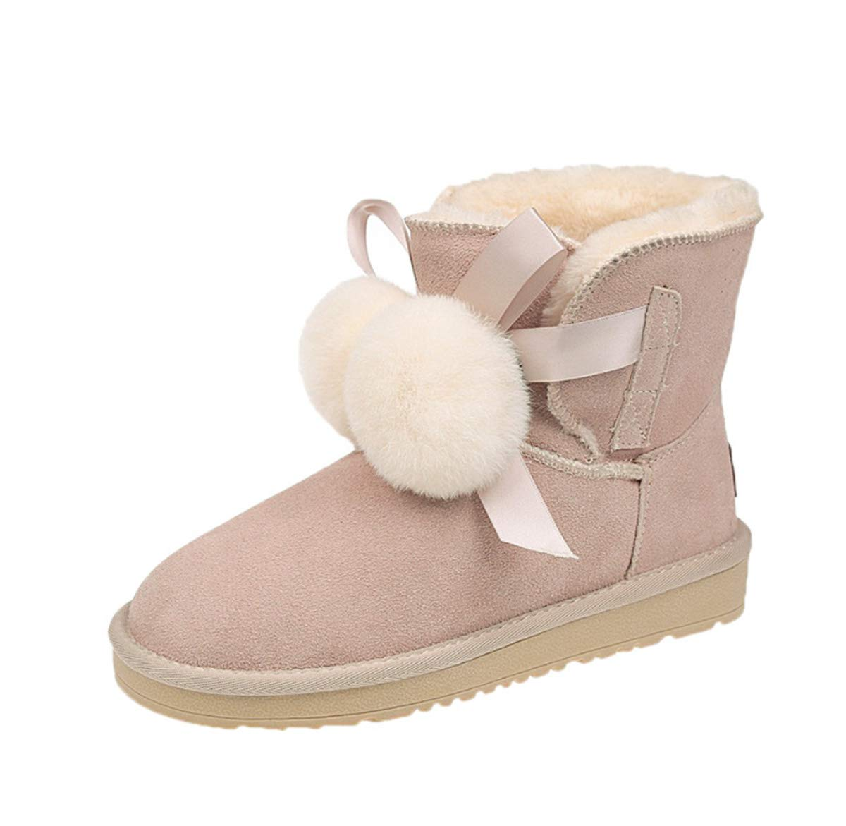 C Boots for Women Winter Warm Pompom Snow Boots with Flat Heel Non-Slip Ankle Boots shoes for Girls Ladies