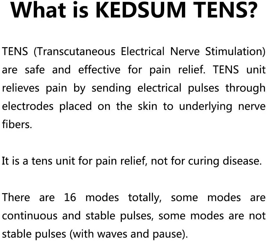 KEDSUM Rechargeable Tens Unit Muscle Stimulator, 3rd Gen Pain Relief 16 Modes Machine Electric Pulse Impulse Mini Massager with 8 Pads, 2 Electrode Wires and a 4-1 Electrode Wire: Health & Personal Care