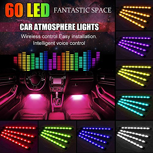 Carmoni 4pcs 60 LED Multi-color Remote Control Car LED Interior Lights - Atmosphere Neon Lights Kit with Sounds-activated