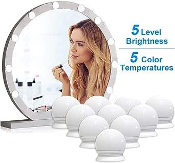 VIPMOON Vanity Mirror Lights, 5m USB Cable Hollywood Mirror Lights, 5 Lights Modes 3200K-6500K, 10 Dimmable Bulbs LED Makeup Light Adjustable 5 Brightness Modes