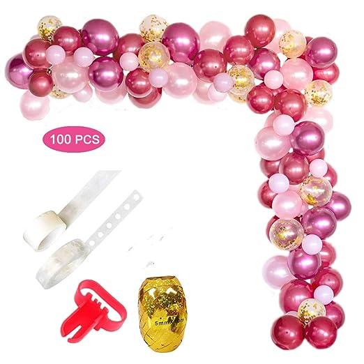 Felly Arco de Globos Rosas, 100 Piezas guirnaldas con globos Rosa blanca y dorada Confeti Lleno de globos de látex Paquete con cinta de globos para ...