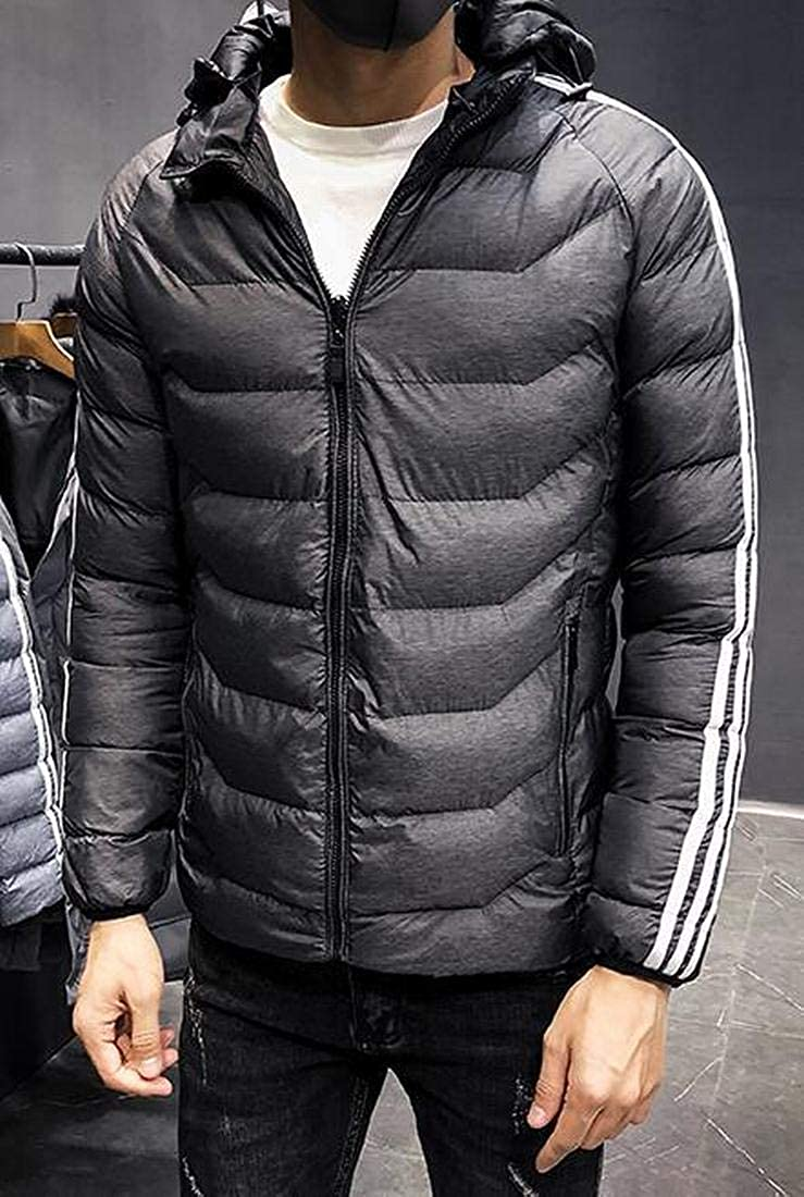 XiaoTianXinMen XTX Mens Winter Hooded Lightweight Padded Quilted Striped Reversible Down Puffer Jacket