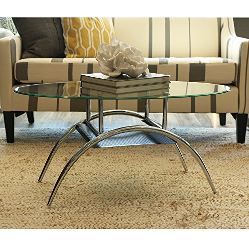 Captivating Walker Edison Glass Oval Coffee Table