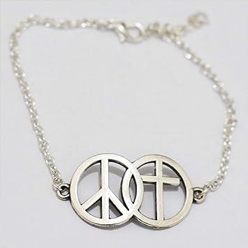 Peace Symbol Cross Bracelet-Simple Bracelet,Best Gift for Lover Lariat Bracelet, Peace