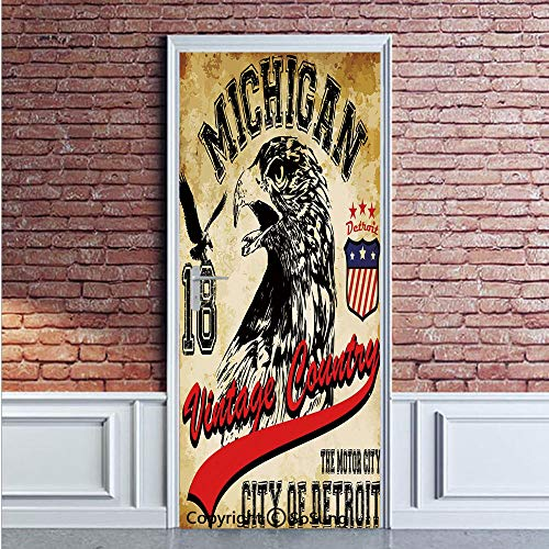 (Eagle Door Wall Mural Wallpaper Stickers,Hand Drawn City of Detroit Michigan Digital Art with a Portrait of an Eagle Decorative,Vinyl Removable 3D Decals 35.4x78.7/2 Pieces set,for Home Decor Pale Bro)