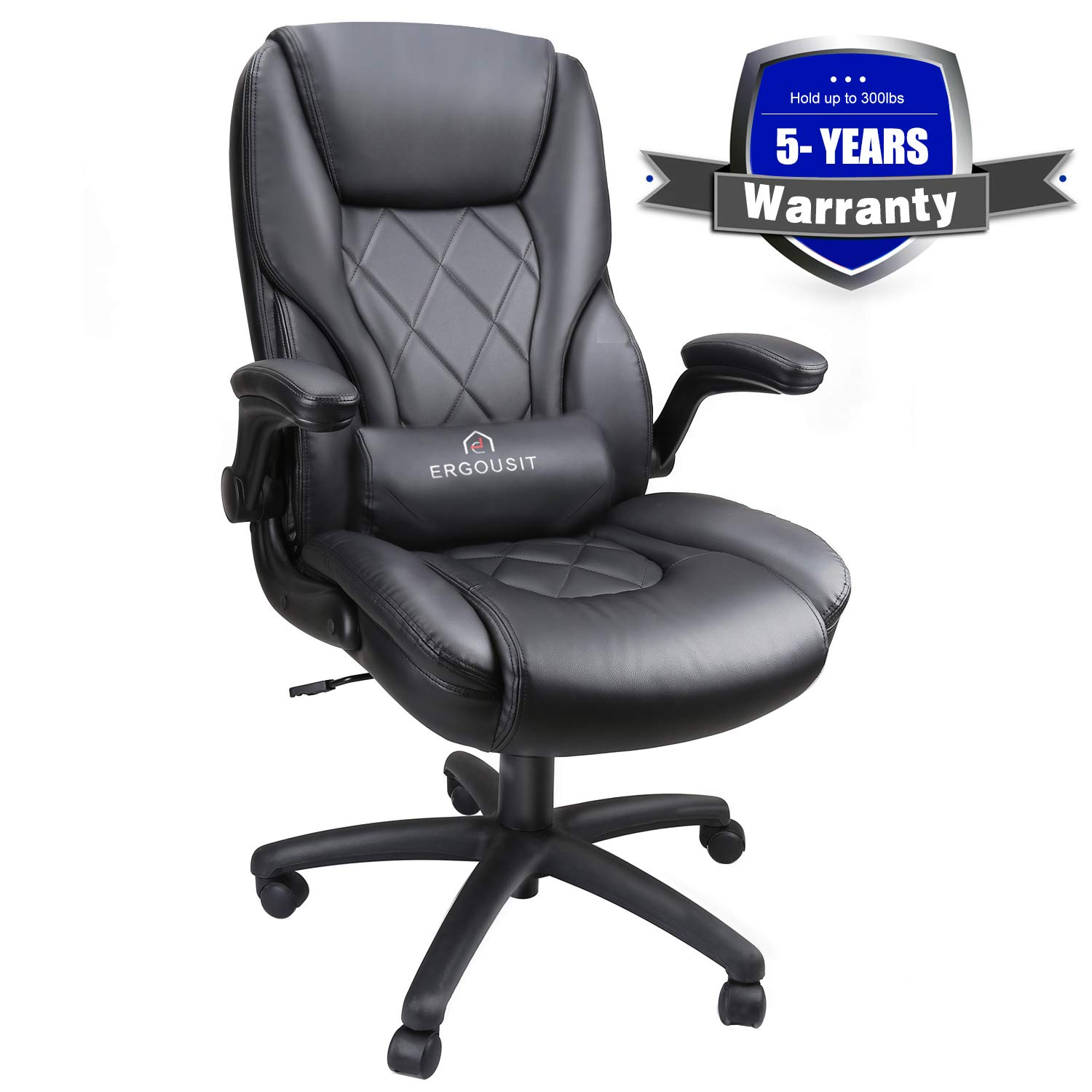 Executive Office Chairs - High Back Racing Style Task Chair - Adjustable Computer Desk Chairs with Lumbar Support, Leather Black for Office Room Decor by Ergousit (Image #1)