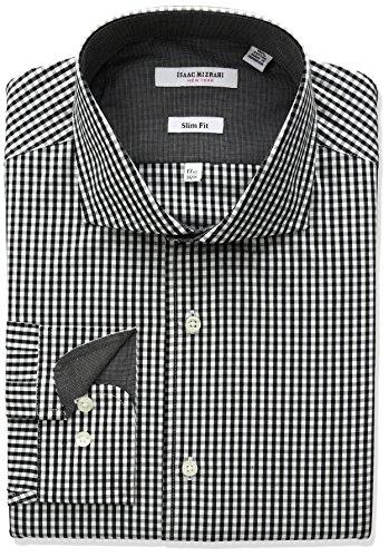 Isaac Mizrahi Men's Slim Fit Classic Gingham Cut Away Collar Dress Shirt, Black, 15.5