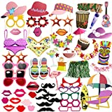 Coceca 75PCS Photo Booth Props Selfie DIY Props Including Mustaches Glasses Hats Lips Ties Crowns for Hawaiian Themed Parties, Birthday Parties, Wedding, Graduation and Festivals