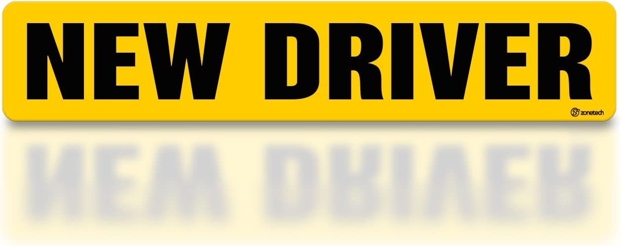 """Zone Tech """"New Driver"""" Effective Car Magnet Black Block Lettering on Neon Yellow Background 3"""" X 12""""- 1 Pack"""