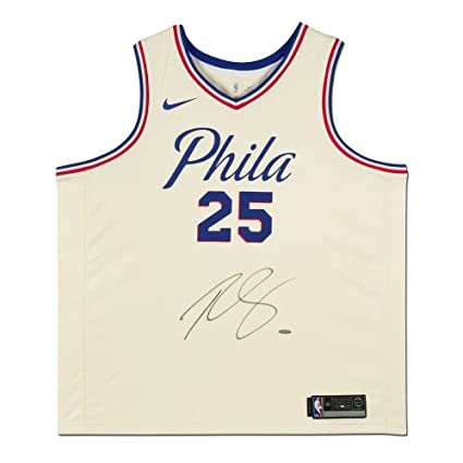 innovative design 14e1c b5eba Amazon.com: BEN SIMMONS Autographed Sixers White