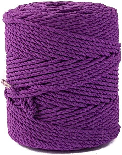 Cordón morado macramé de 4 mm de algodón violeta cuerda de macramé 525 pies 175 yardas cuerda de bricolaje cuerda para colgar de la planta cuerda de la pared cuerda: Amazon.es: Hogar