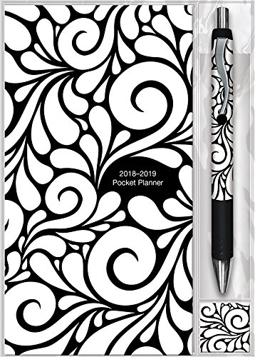 Black & White Swirls 2018 Pocket Planner & Pen