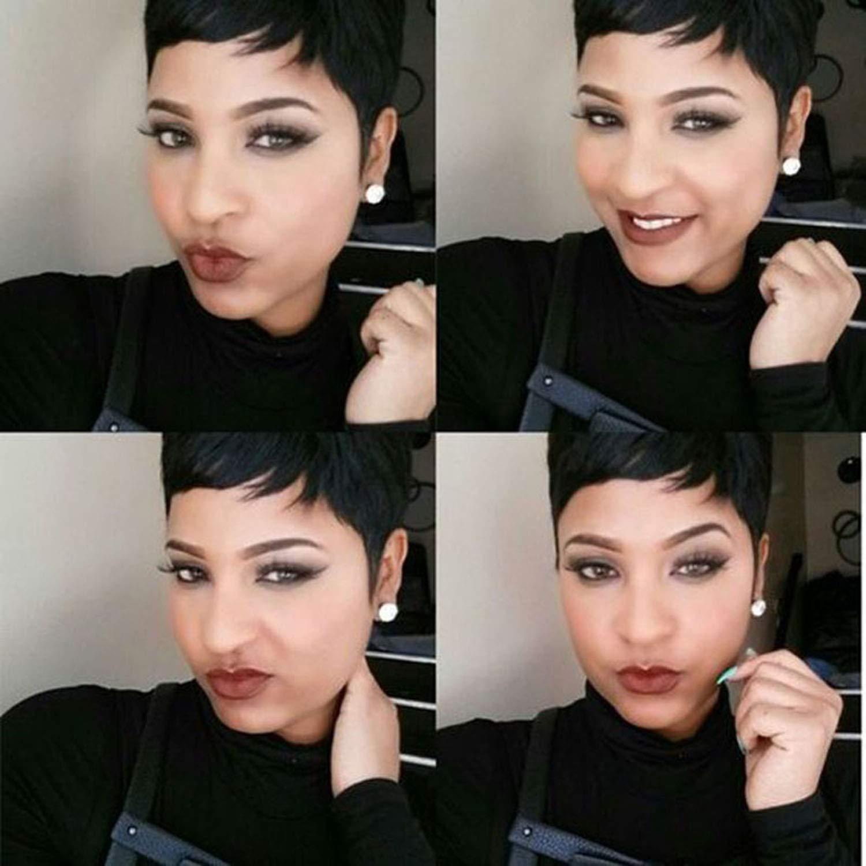 Amazon Com Hotkis Human Hair Short Pixie Cut Wigs Brazilian Hair Short Wigs Boy Cut Wigs For Black Women 4inch Black M Wig Cap Beauty