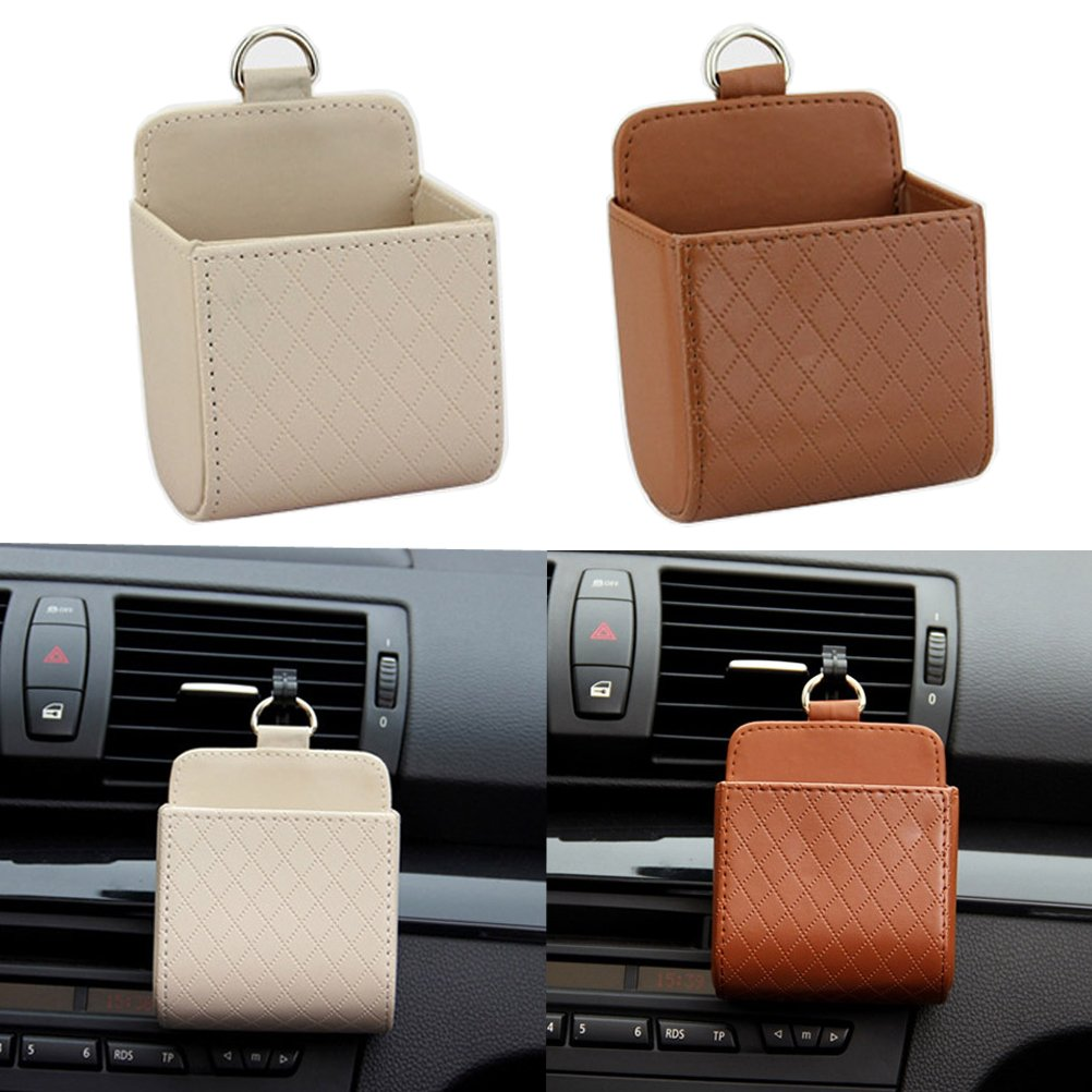 Car Universal Fit Air Vent Pocket Phone Holder Pocket Pouch Bag Box BROWN//BEIGE 2 PCS H AND M GLOBAL 4351482541
