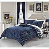 6 Piece Navy White Geometric Twin XL Duvet Cover Set,Blue Ikat Jacquard Theme Diamond Pattern Bedding,Boho Chic Medallion Geometrical Southwest Contemporary Trendy Reversible, Microfiber Polyester