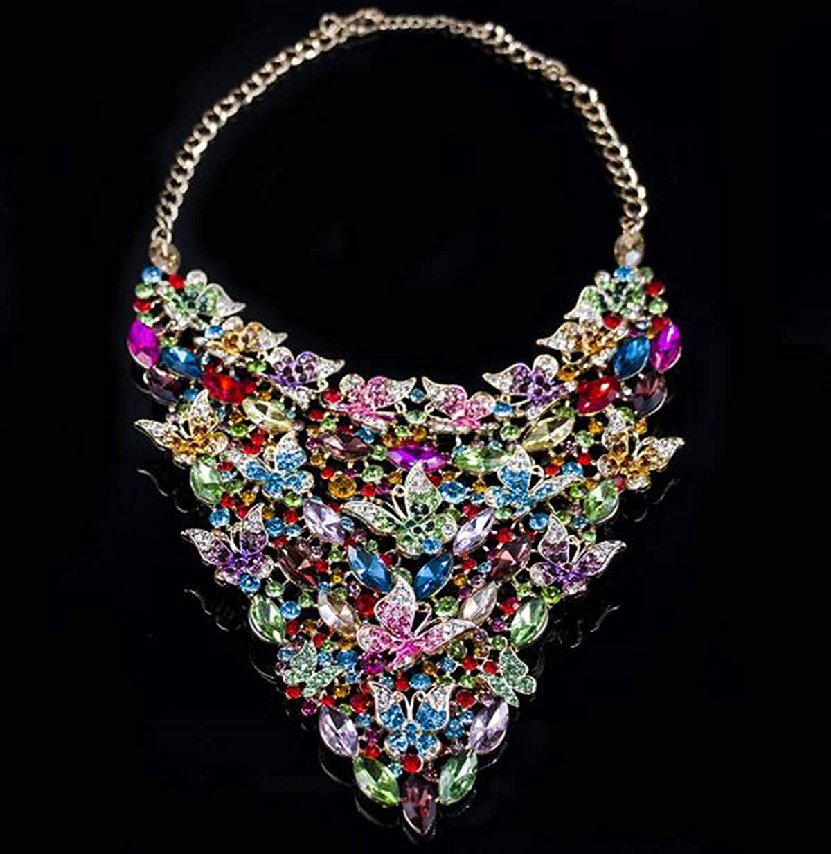 Multicolor Libaraba Large Glass Diamond Accent Flock of Butterflies Insect Necklace Earrings Jewelry Sets,Butterfly Jewelry Sets for Women