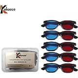 kakooze 5 Pair Adult Plastics Red/Blue 3D Glasses Anaglyph Glasses,Black