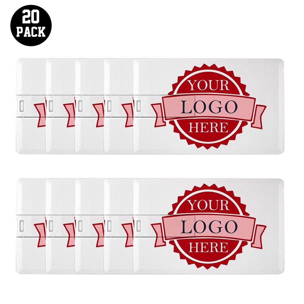 Personalized Credit Card USB Flash Drive Custom Logo Memory Stick Thumbdrive 20 Bulk Pack (4GB) by Generic