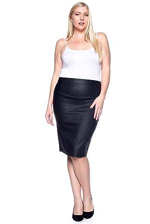 2173de52f2 Rokoko Plus Women's Below The Knee Pu Coated Office Pencil Skirt at Amazon Women's  Clothing store: