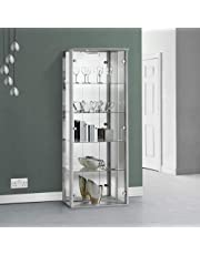 Displaysense Silver Mirrored Glass Display Cabinet With LED Lighting - 670mm - Also Available in Black or Oak
